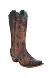 Ladies' Corral Brown Embossed and Studded Snip Toe Boot