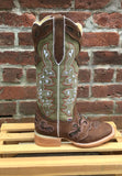 Women's Rockin Leather Tall Distressed Brown Boot with Wide Square Toe in Olive