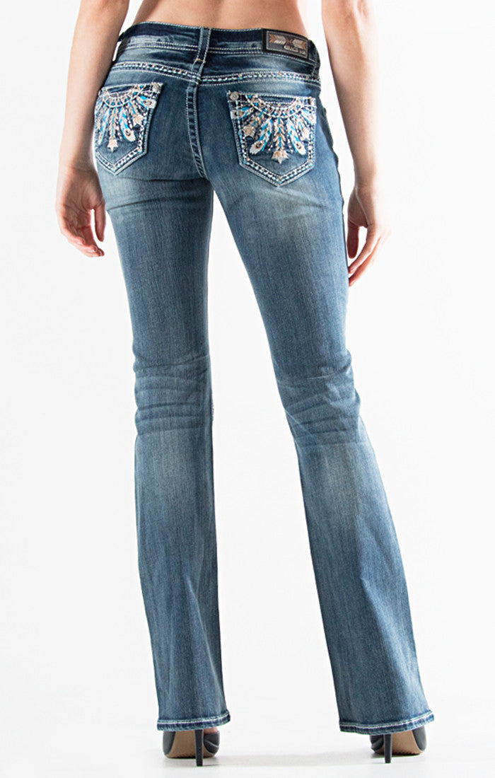 Turquoise Feather Embellished Bootcut Jeans