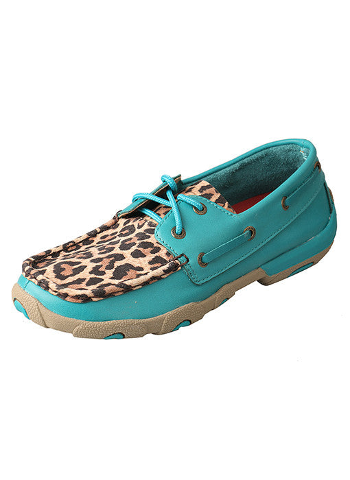 Women's Twisted X Driving Mocs- Turquoise / Leopard
