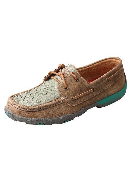 Women's Twisted X Driving Mocs- Bomber / Turquoise Fish