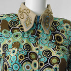 Medium Aqua and Nutmeg Circles Show Shirt