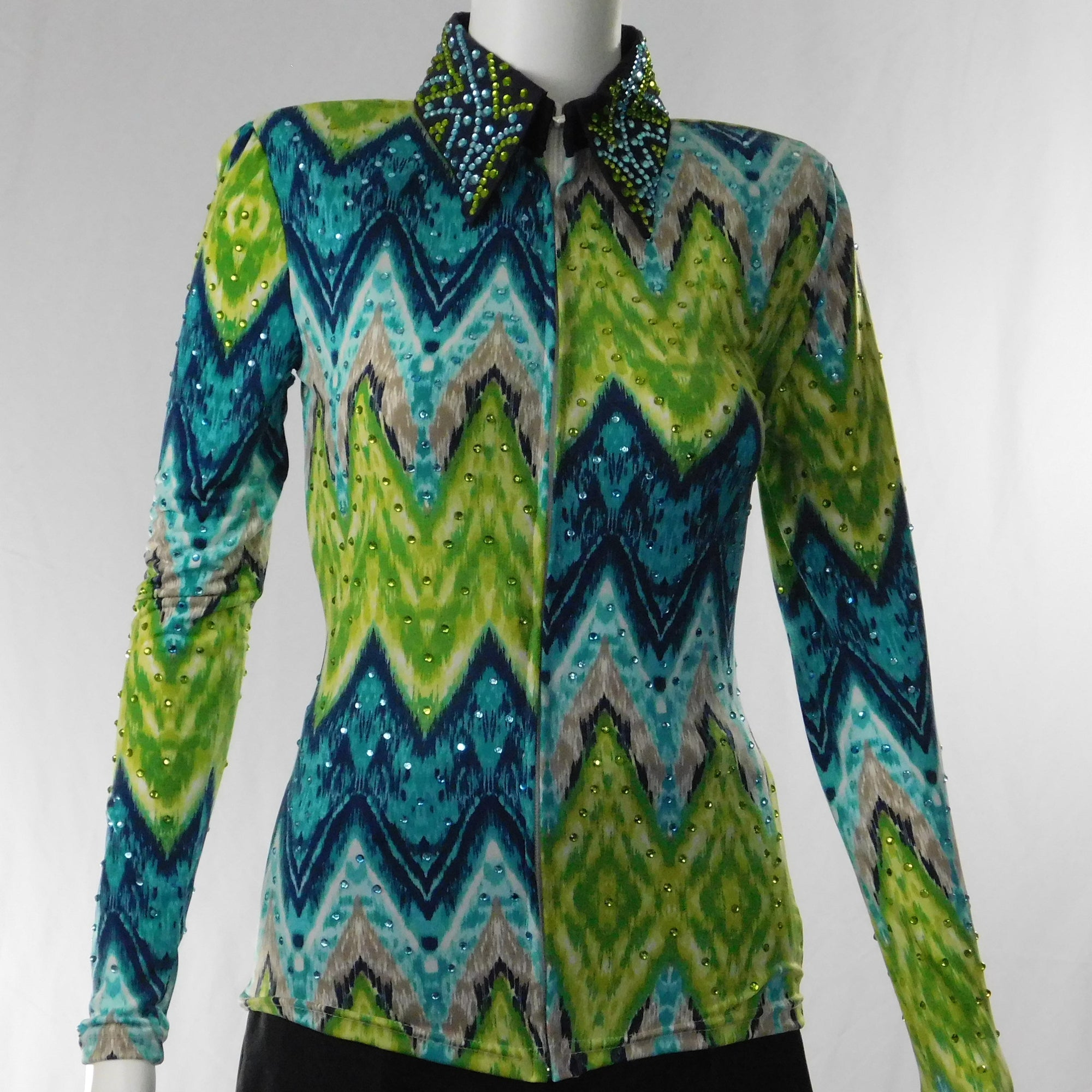 Small Lime and Blue Split Zig-Zag Show Shirt