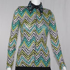 Western Collection's Lime and Teal Zig Zag Rail Show Shirt