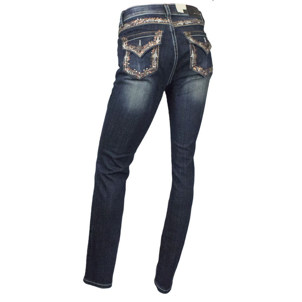Grace in LA Missy Fit Bootcut Copper Sequin and Silver Stitched Pocket Jeans