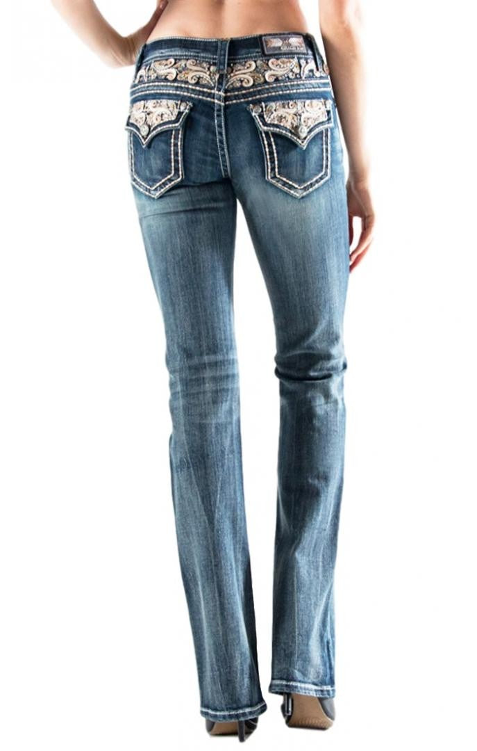 Grace in LA Easy Fit Bootcut Scroll Embellished Waist and Pocket Jeans