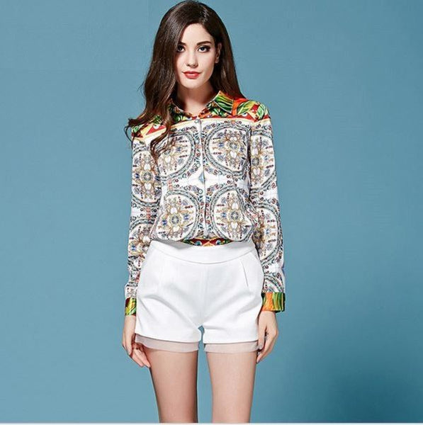 Sicily Print Slim Long-Sleeve Blouse - ELEGANTe Webshop
