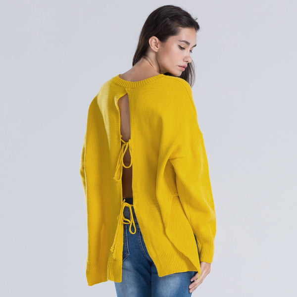 2017 Fashion -  Yellow Knitted Pullover