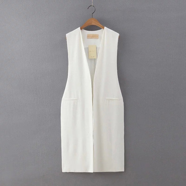 Long vest with waist strap