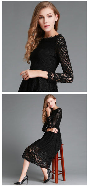 2017 Fashion - Lace Dress with Long Sleeve
