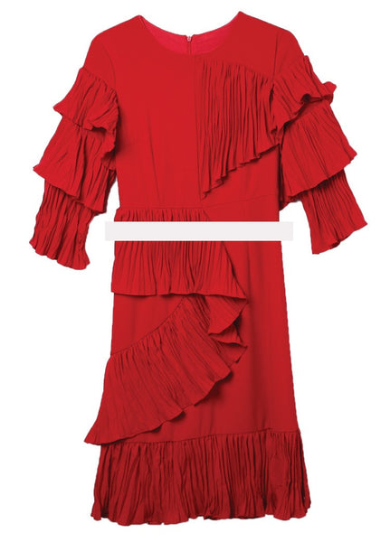 2017 Fashion - Cascading Ruffle Draped Dress