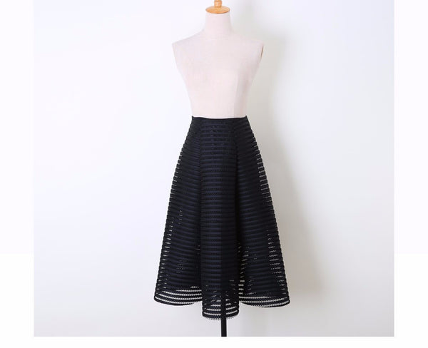 2017 Fashion -  Striped Hollow Out Midi Skirt
