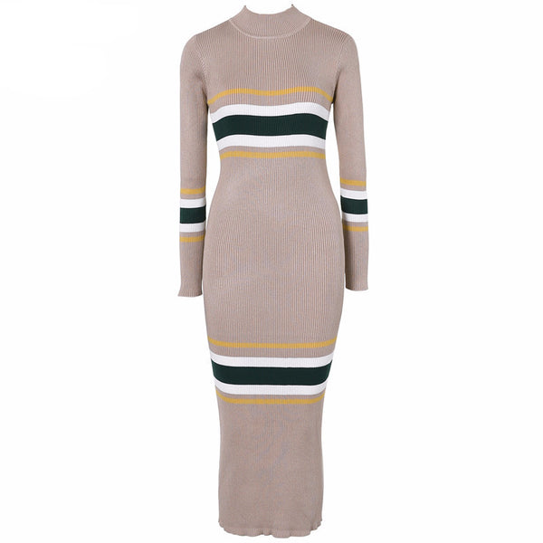 2017 Fashion - Long Sleeve Turtleneck Knitted  Dress