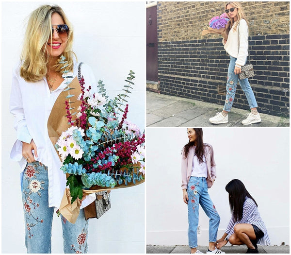 Flower Embroidery Jeans