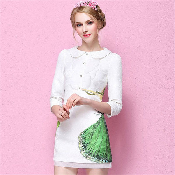 2017 Fashion - three quarter sleeve beauty patterns dress - ELEGANTe Webshop