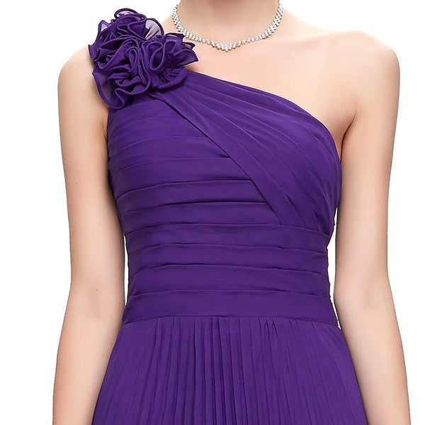 One Shoulder Pleated Party Dress