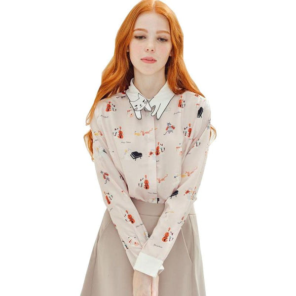 Print Blouse - Cute Collar - ELEGANTe Webshop