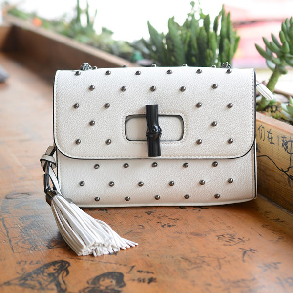 White Rivet Fringe Bag