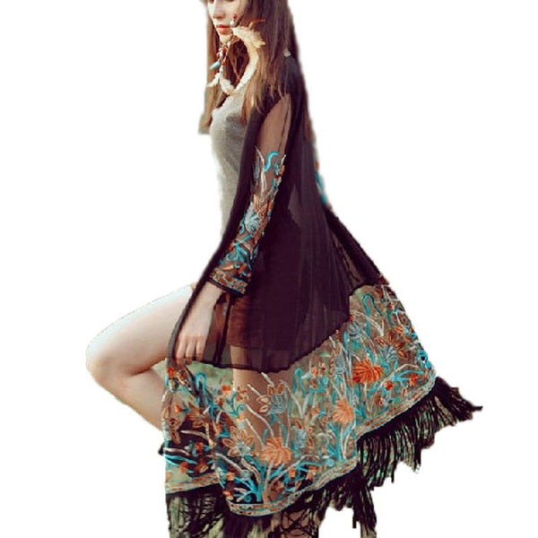 Vintage Boho Floral Tassel Beach Cover Up