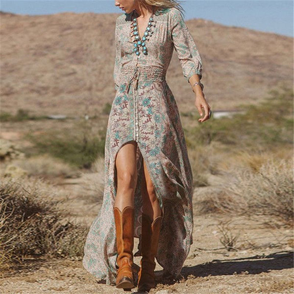 Floral V-Neck Boho Long Dress - ELEGANTe Webshop