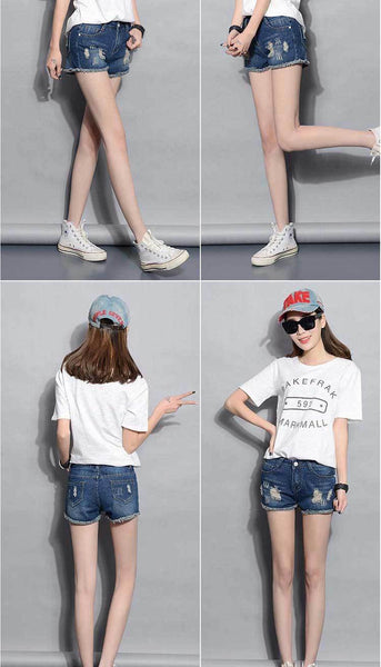 2017 Fashion - Ripped Denim Shorts - ELEGANTe Webshop