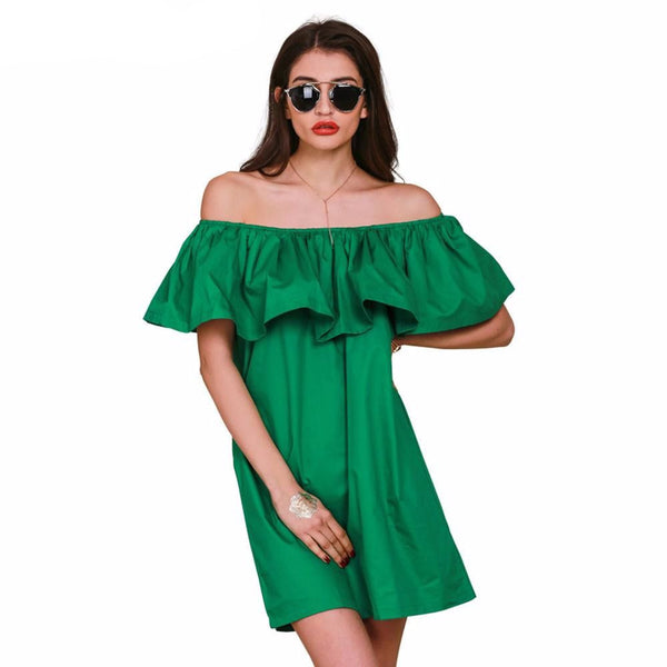 Simplee Apparel Ruffles slash neck dress - ELEGANTe Webshop