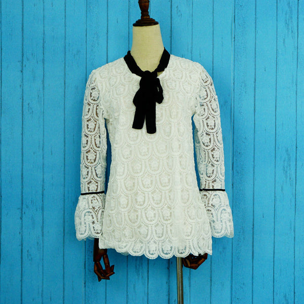 Embroidery long sleeve white lace blouse - ELEGANTe Webshop