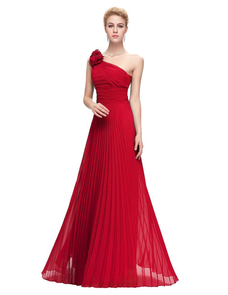 One Shoulder Pleated Party Dress - ELEGANTe Webshop