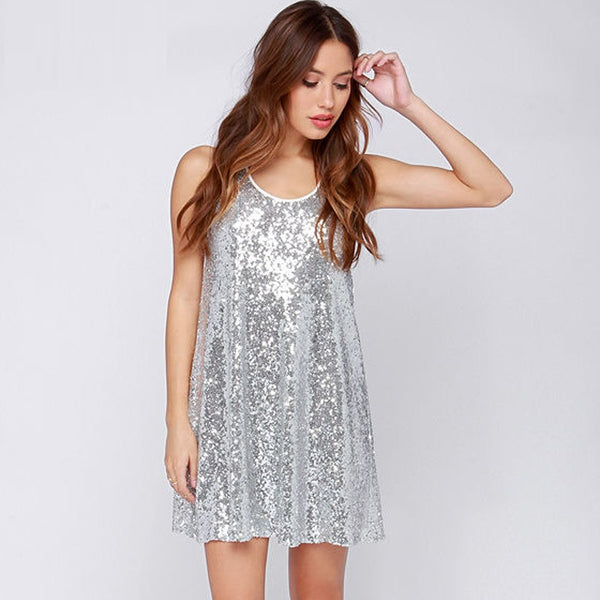 2017 Fashion - Silver sequins dress - ELEGANTe Webshop