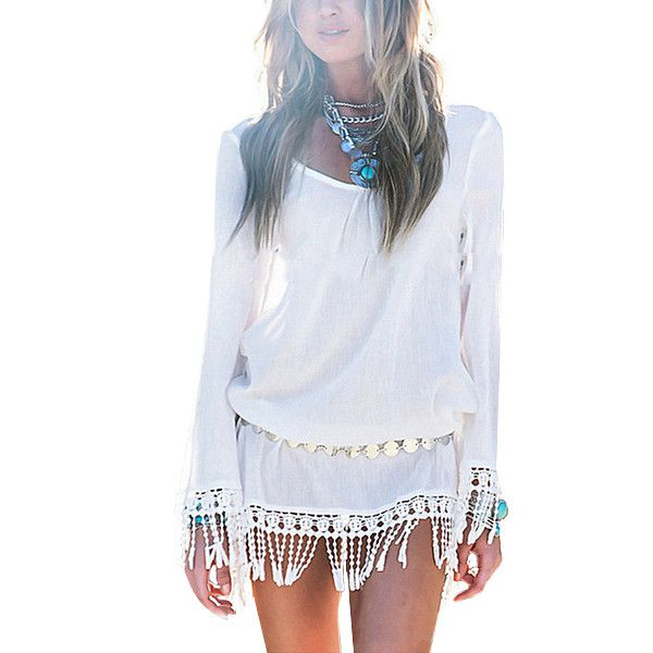 Long Sleeve Bohemian Tassel  Chiffion Beach  Dress - ELEGANTe Webshop
