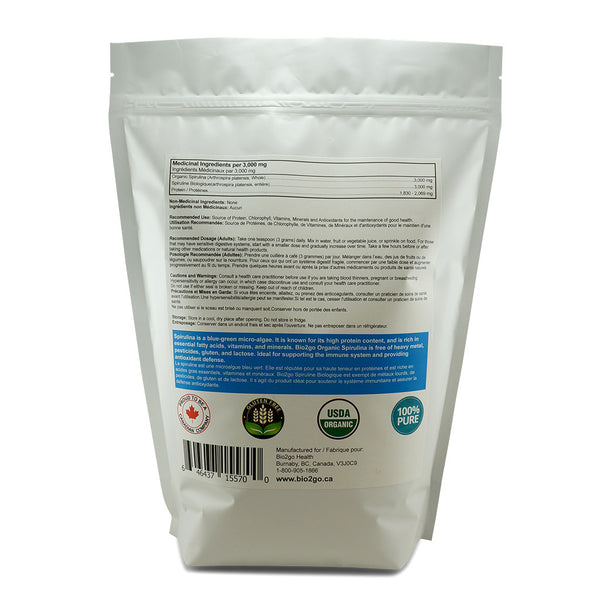 Bio2go™ USDA Certified Organic Spirulina Powder Economic Bag (1 kg / 2.2 lbs) - Bio2Go Health