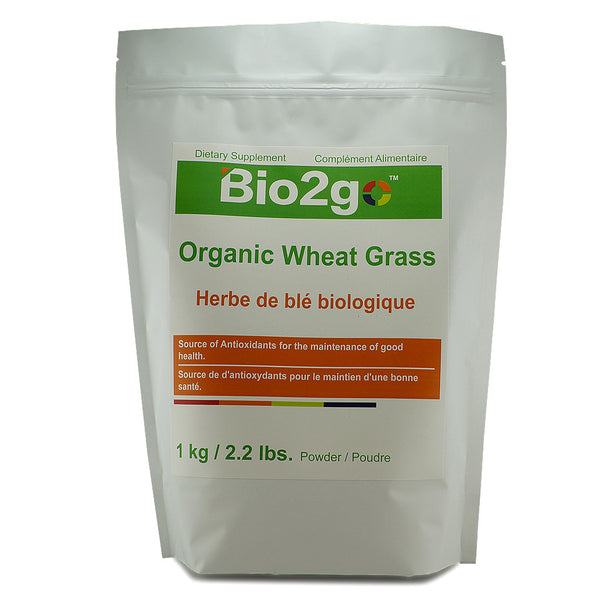 Bio2go™ USDA Certified Organic Wheat Grass Powder Economic Bag (1 kg / 2.2 lbs) - Bio2Go Health