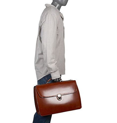 Jack Georges Elements Triple Gusset Flap Over Leather Briefcase
