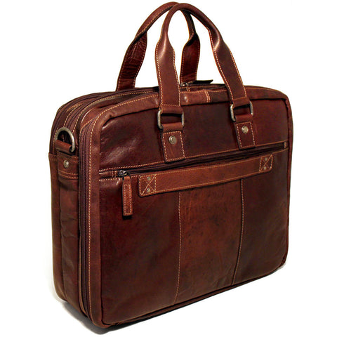 Jack Georges Voyager Large Triple Gusset Briefcase w/Travel Compartment
