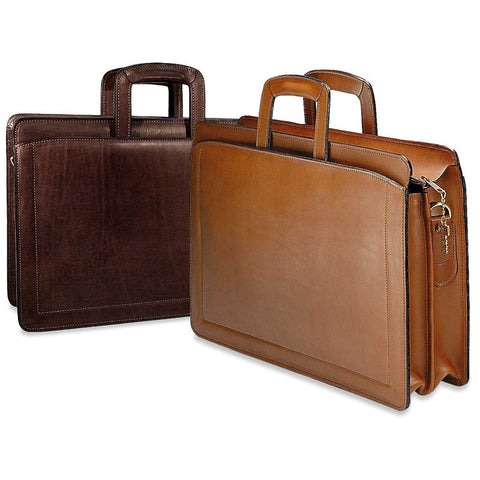 Jack Georges Belting Leather Double Gusset Top Zip Briefcase