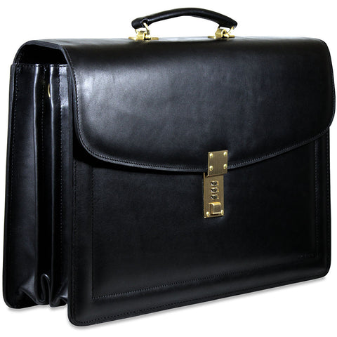 Jack Georges Belting Leather Triple Gusset Flapover Combination Lock Briefcase
