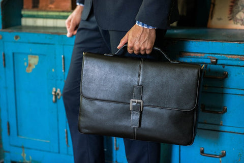 Boconi - Tyler Tumbled Brokers Bag in Black