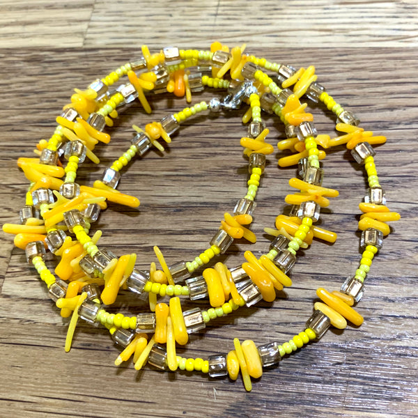Yellow coral waist bead