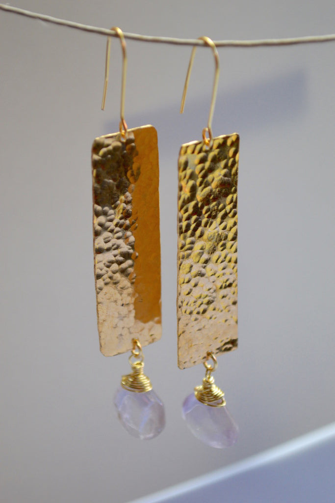 Hammered brass plate earring