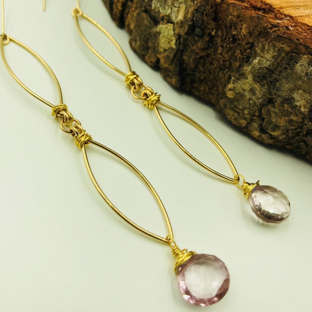 Soft pink gemstone dangle earring