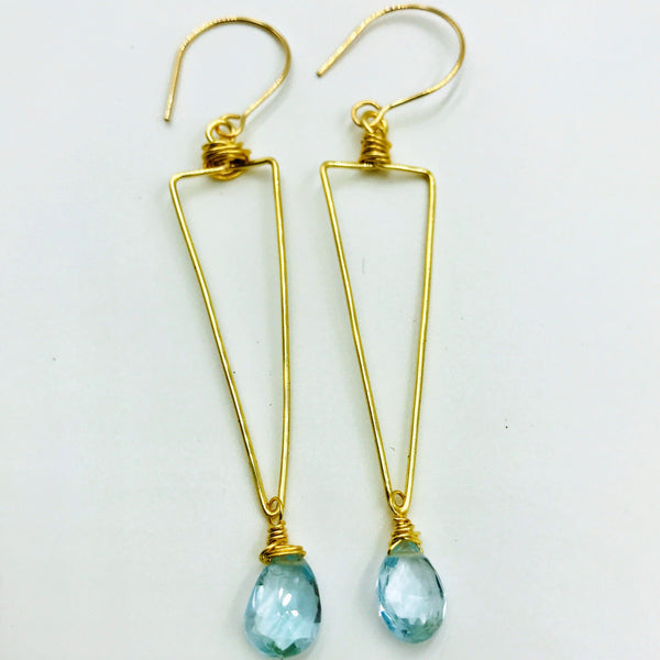 Pointed topaz dangle earring
