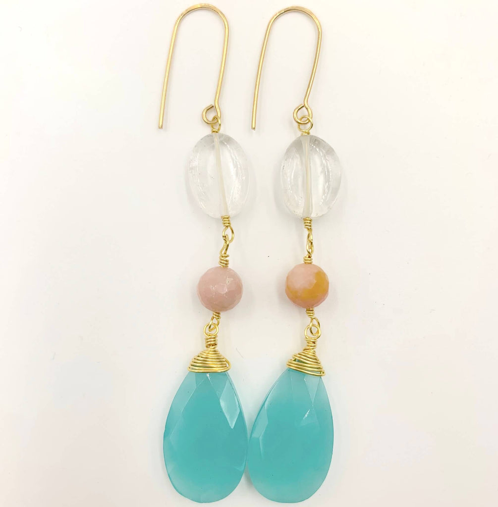 Quartz, pink opal and sea blue statement earring
