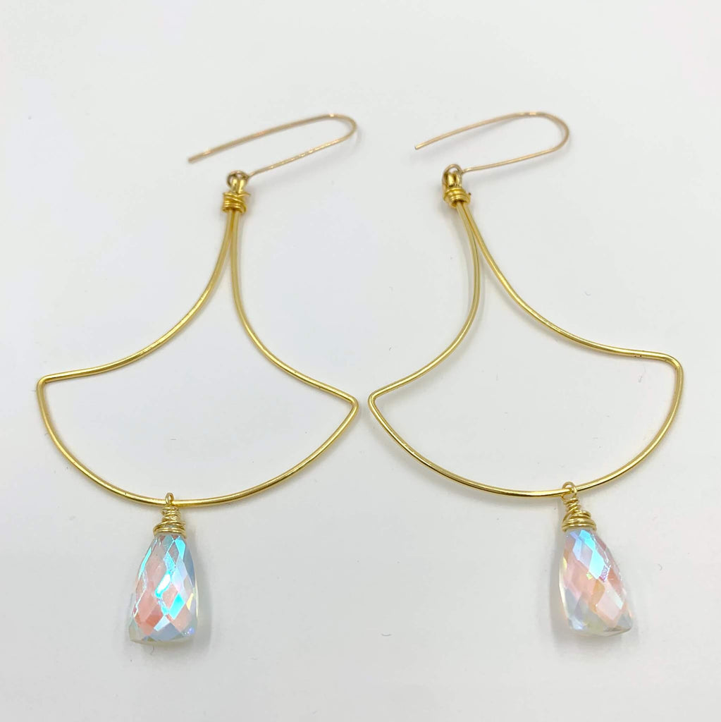 Rainbow quartz fan earring