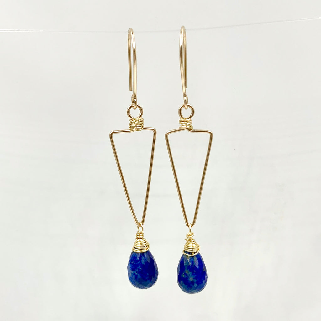 Small triangle gemstone earring