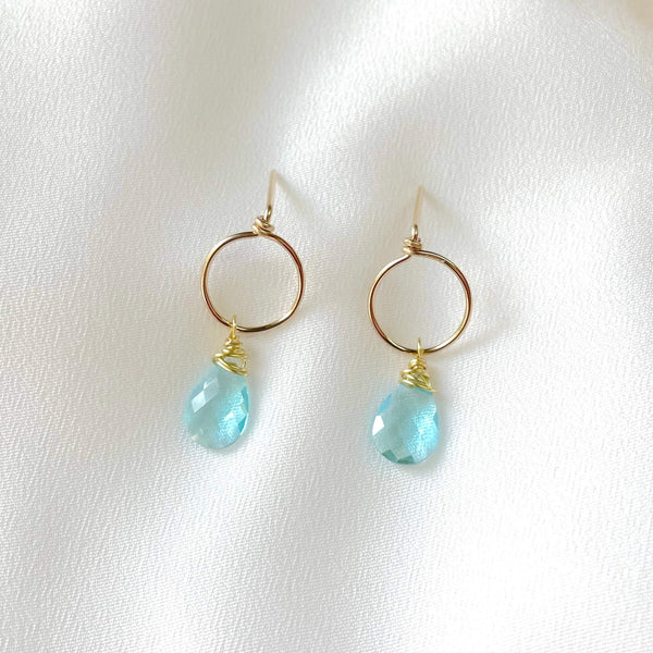 topaz blue gem circle stud earring