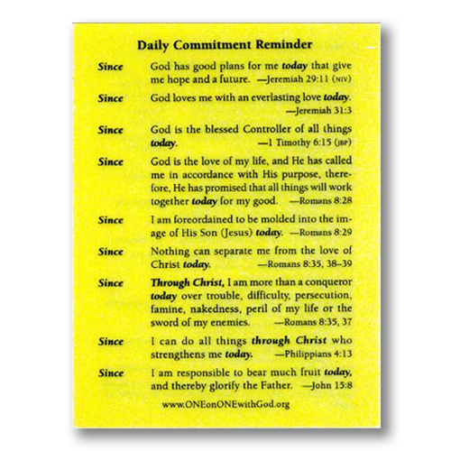Daily Commitment Reminder Card