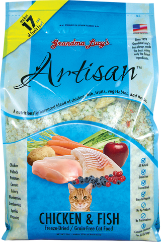 GRANDMA LUCY'S Artisan Freeze Dried Cat Food - Chicken and Fish - Grain Free - for All Ages