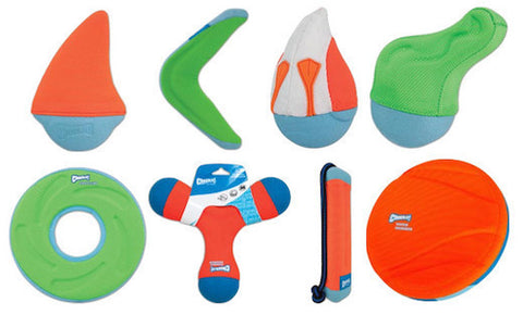 CHUCK IT - Amphibious Floating Toys by Canine Hardware - ZipFlight (S,L) / Boomerang / Bumper Stick (S,L) / Shark Fin (S,M,L) / Duck Diver (S,M) / Gator (S,M) / Water Skimmer (M) / Tri-Bumper (M,L)