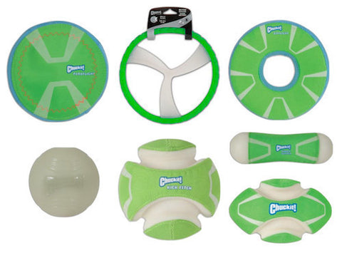 CHUCK IT Glow Toys by Canine Hardware - Kick Fetch / Paraflight / Zipflight / Fumble Fetch / Tumble Bumper / Max Glow Ball / Roller