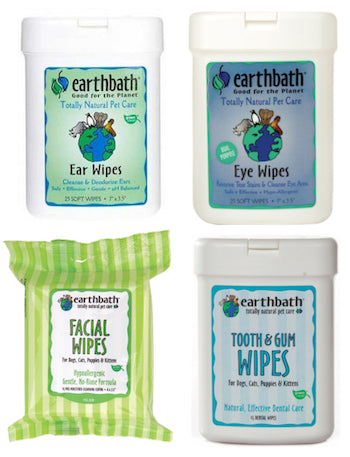 EARTH BATH Ear, Eye, Tooth & Gum, & Facial Grooming Wipes for Dogs, Cats and Other Pets